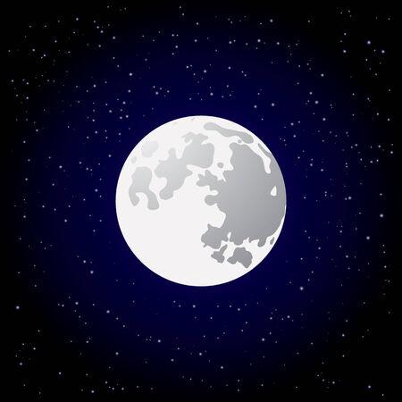 Full moon and shining stars on dark blue sky Stock Vector - 23858507