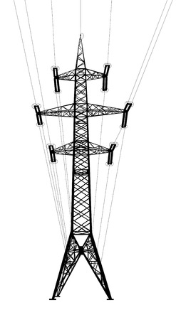 insulators: Power transmission tower with wires  Isolated on white background  Vector EPS10