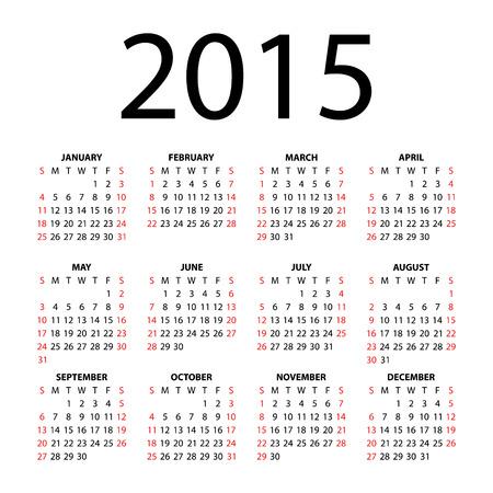 Calendar for 2015  Иллюстрация