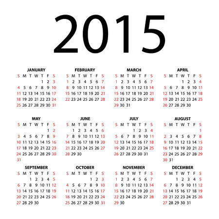 Calendar for 2015  Illustration