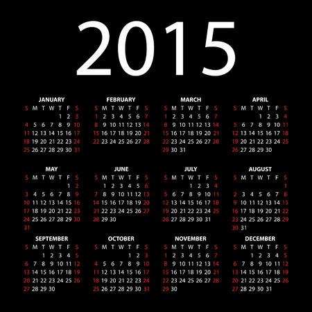 Calendar for 2015 on black