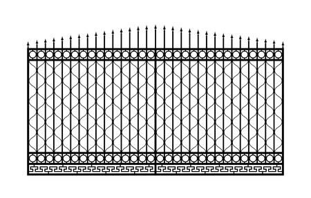 iron fence: Forged gate with sharp spikes  Isolated on white