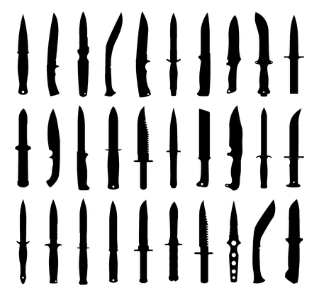 Knife silhouettes set  Isolated on white