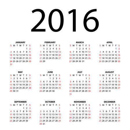 Календарь на 2016 год на белом