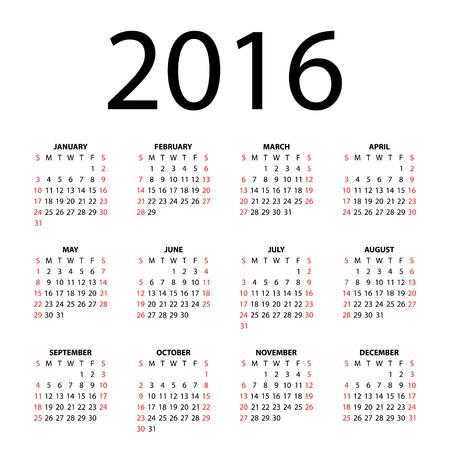 Calendar for 2016 on white