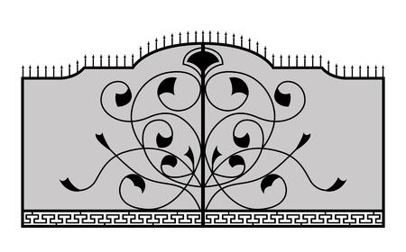 Железные ворота Изолированные на белом фоне Вектор EPS10
