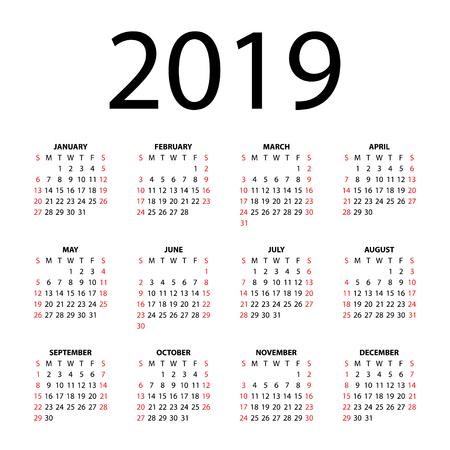 Calendar for 2019 on white background  Vector EPS10