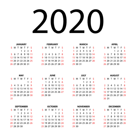 Calendar for 2020 on white background  Vector EPS10