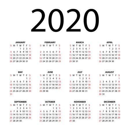 Calendar for 2020 on white background  Vector EPS10
