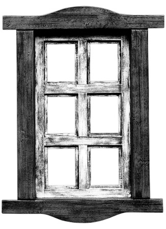 Old wooden saloon window isolated on white  photo