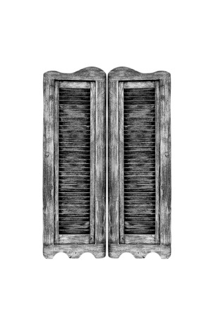 Old wooden western swinging Saloon doors isolated on white  photo