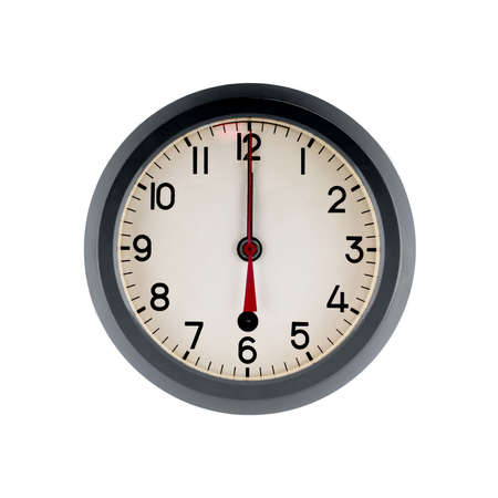 Old wall clock  Soviet Navy  show the twelve o clock  Isolated on white  photo