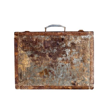 Retro wooden suitcase  Isolated on white background