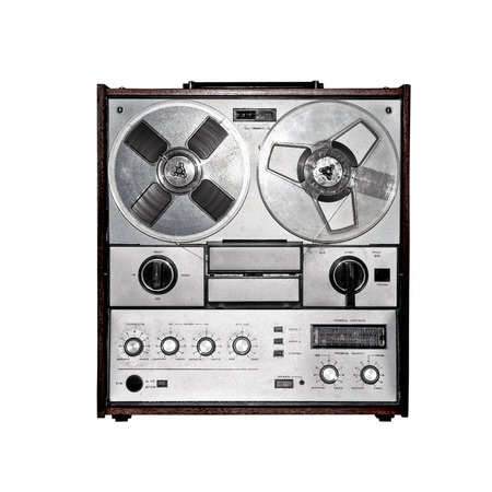 Retro audio tape recorder  Isolated on white Stock Photo