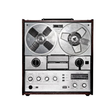 Retro audio tape recorder  Isolated on white Stock Photo