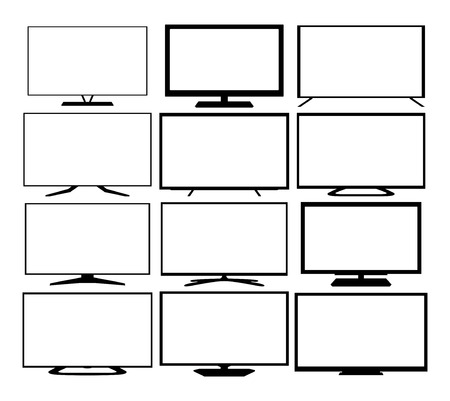 Tv web icons set  Isolated on white