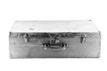 Retro wooden suitcase  Isolated on white Stock Photo