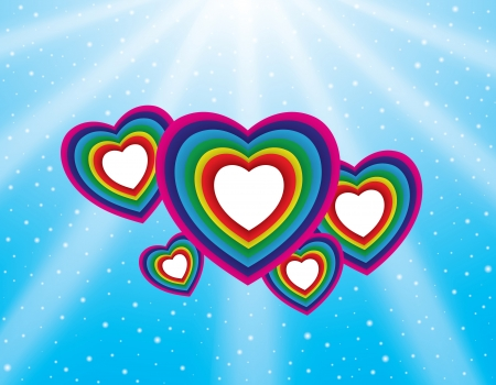 Valentine s day background with colorful hearts, blue sky and sun rays  Vector