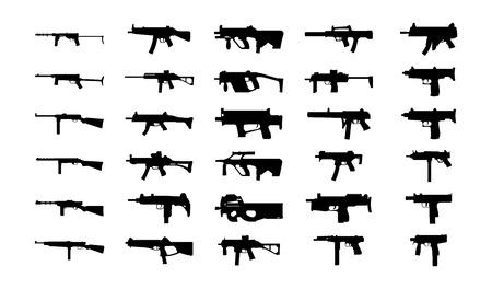 sub: Guns silhouettes illustration  set   Illustration
