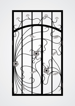 iron gate: Forged gate door  Vector  Illustration