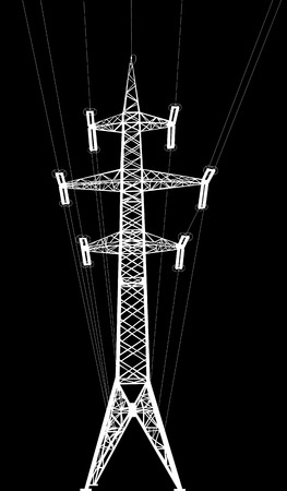 high tension: Silhouette of high voltage power lines and pylon  Isolated on black  Illustration