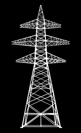 high tension: Power transmission tower  Isolated on black