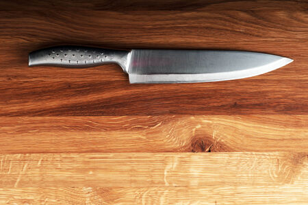 Knife on wooden with copy space