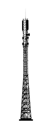 Mobile telecommunications tower isolated on white background