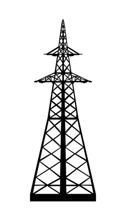Power transmission tower  Isolated on white  Vector EPS10