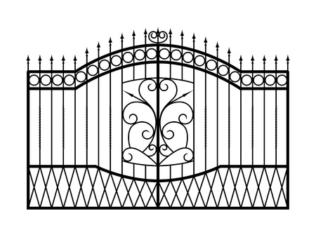 victorian gates: Forged gate isolated on white background  Architecture detail  Vector EPS10
