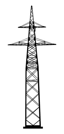 insulators: Power transmission tower  Industrial construction   Illustration