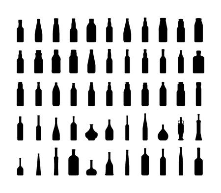 Коллекция Бутылка силуэт Изолированные на белом фоне
