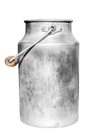 Old milk can isolated on white background  Stock Photo