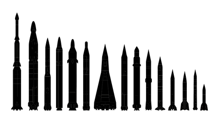 Set of combat rocket weapons  Isolated  Vector