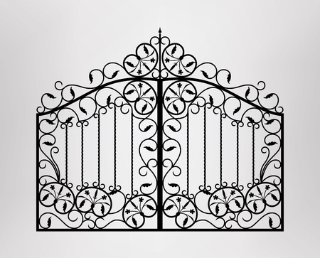 iron door: Forged gate  Architecture detail   Illustration