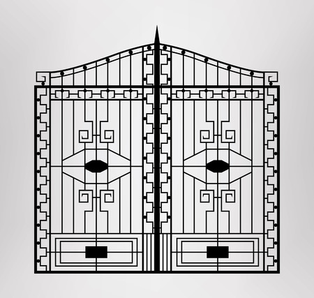 victorian gates: Forged gate  Architecture detail  Vector EPS10