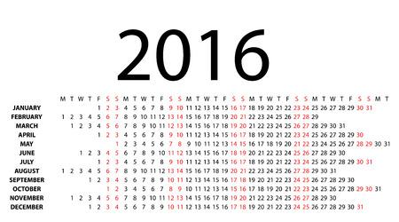 Horizontal calendar for 2016 on white background  Vector EPS10