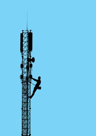 klimmer: Silhouet van de werknemer klimmen op mobiele telecommunicatie toren tegen de blauwe hemel Vector EPS10