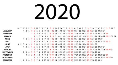 Horizontal calendar for 2020 on white background  Vector EPS10