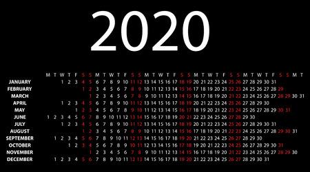 Horizontal calendar for 2020 on black background  Vector EPS10  Illustration