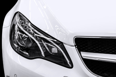 Closeup headlights of business car  Car exterior detail  Banco de Imagens