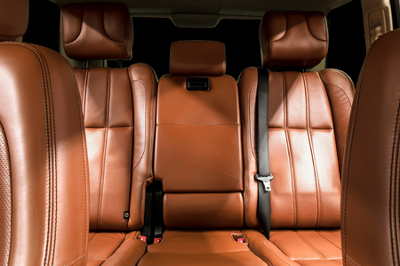 car seat: Business car interior  Rear leather seats