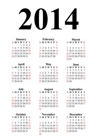 Vertical calendar for 2014 on white background  Vector EPS10  Vector
