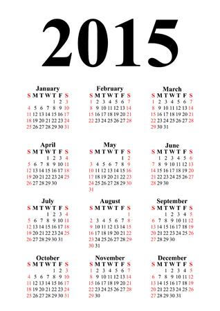 Vertical calendar for 2015 on white background  Vector  Illustration