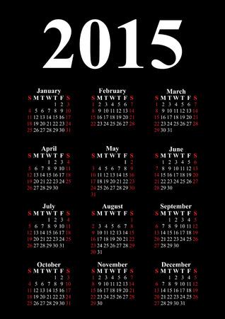 Vertical calendar for 2015 on black background  Vector EPS10