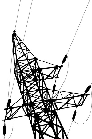 insulators: High voltage power lines and pylon  vector