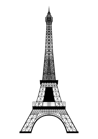 Eiffel Tower Silhouette isolated on white  Vector