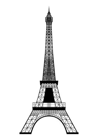 Touring: Wieża Eiffla sylwetka wyizolowanych na białym tle Ilustracja