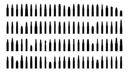 Ammunition silhouettes set  Isolated on white   Illustration
