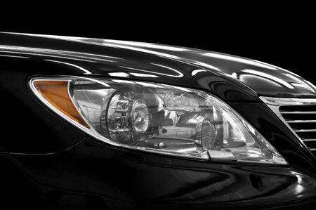 Closeup headlights of car  Car exterior detail  Stock Photo